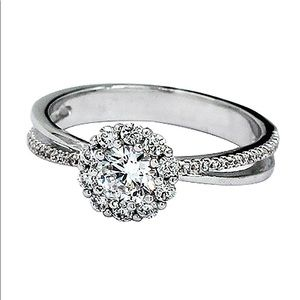 Sparkling beloved crystal silver ring